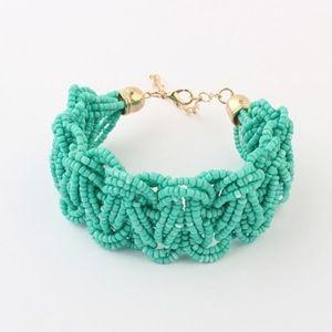 Jewelry - Boho Blue-Green Braided Seed Beaded Bracelet